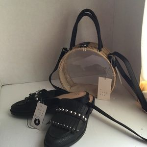 A NEW  DAY BUNDLE SHOULDER BAG AND MULES SZ 8 NEW